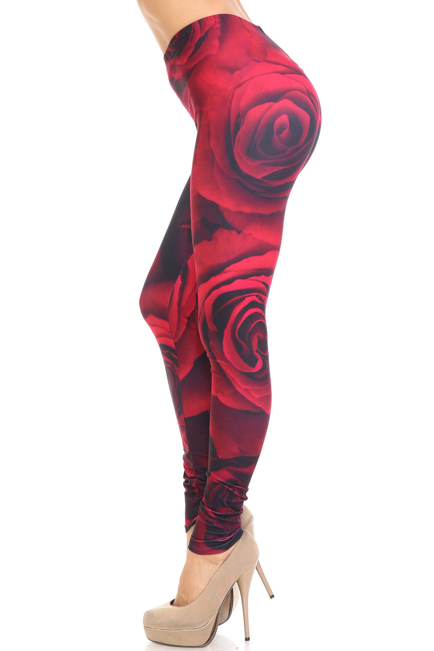 Left side view of Creamy Soft Jumbo Red Rose Leggings - USA Fashion™