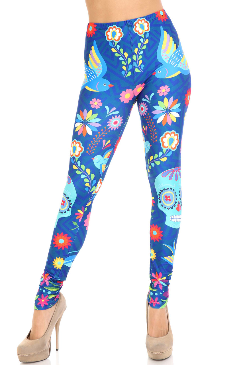 Front view of mid rise Creamy Soft Garden of Eden Sugar Skull Leggings - USA Fashion™ with an elastic banded waist.