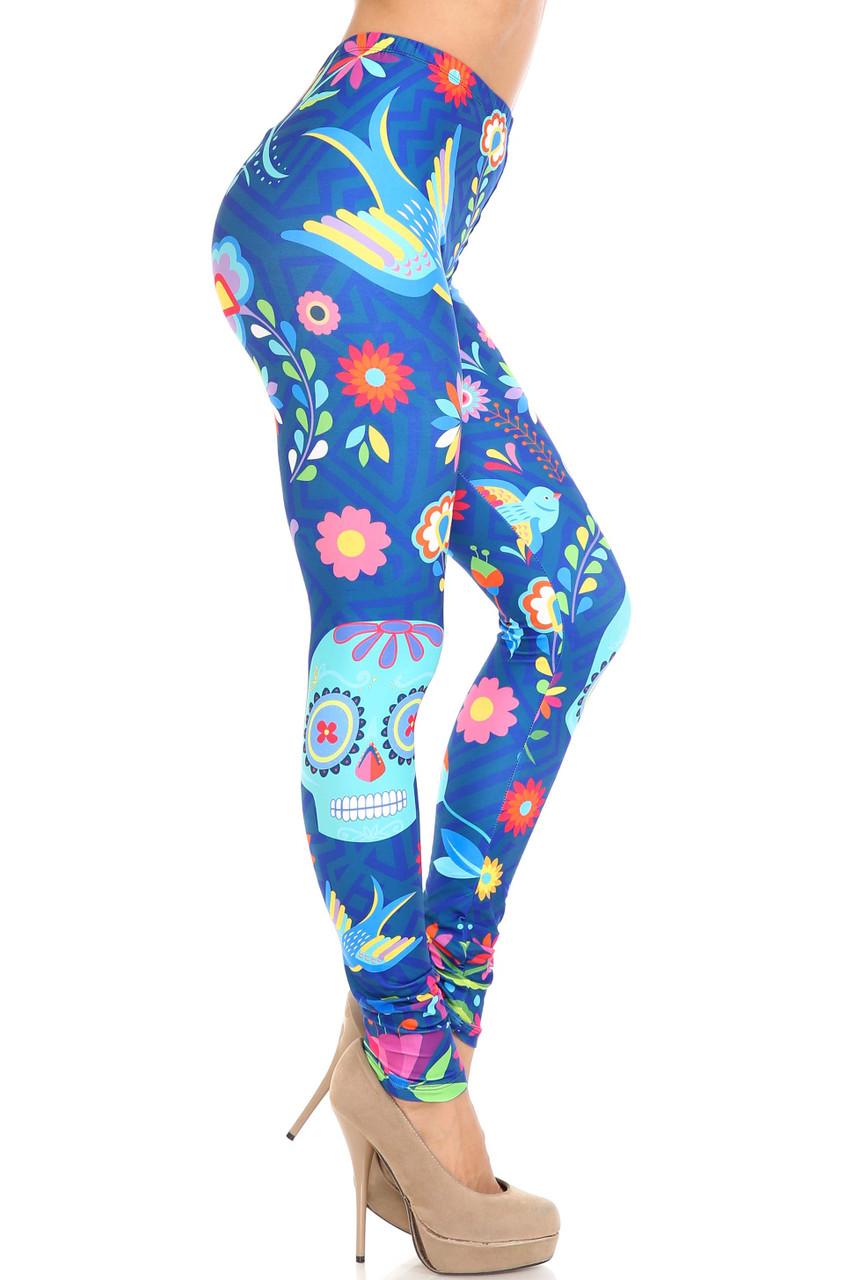 Right side view of Creamy Soft Garden of Eden Sugar Skull Leggings - USA Fashion™