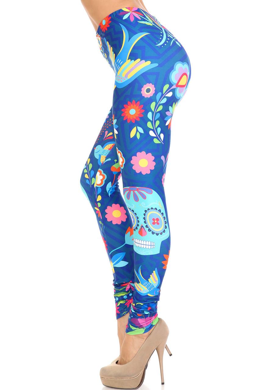 Left side view of Creamy Soft Garden of Eden Sugar Skull Extra Plus Size Leggings - 3X-5X - USA Fashion™