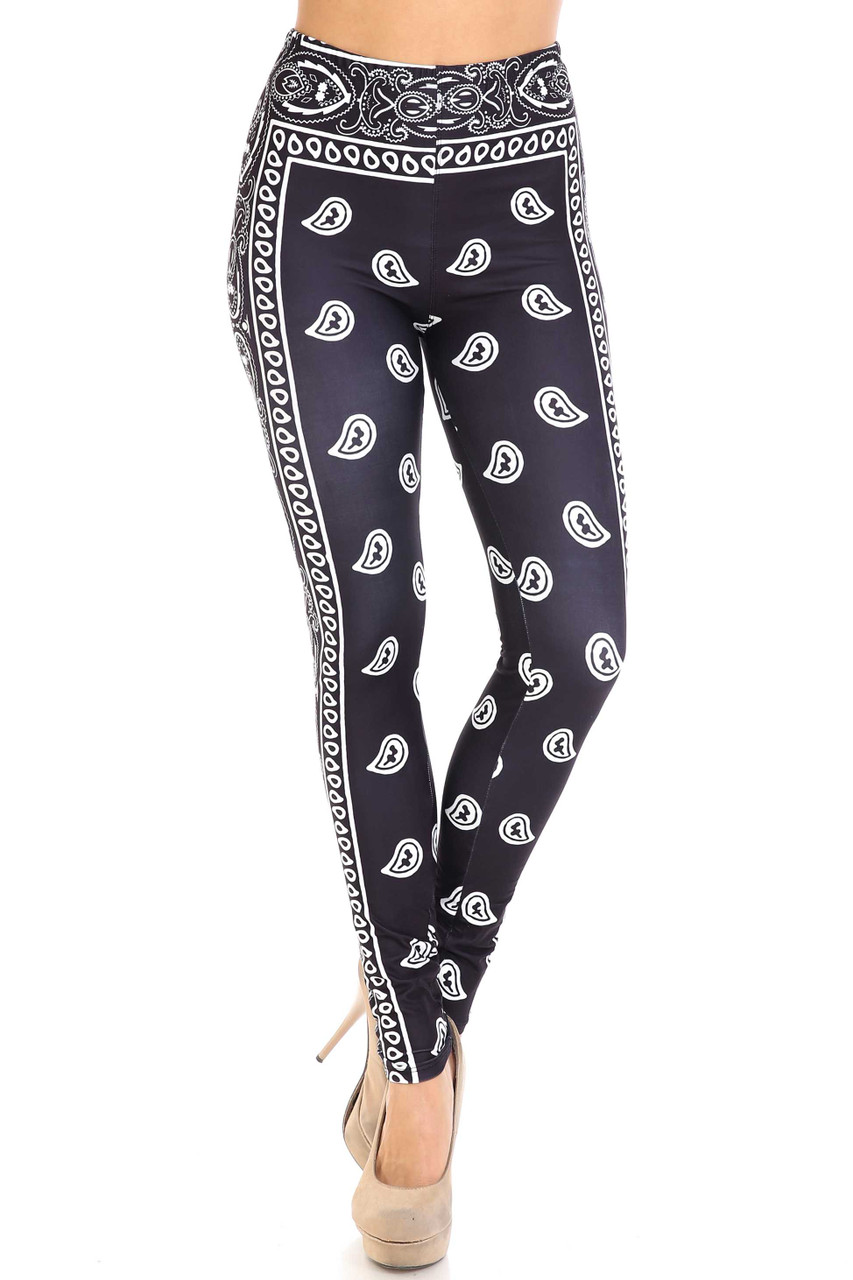 Front view of mid rise Creamy Soft Black Bandana Leggings - USA Fashion™ with an elastic waist.