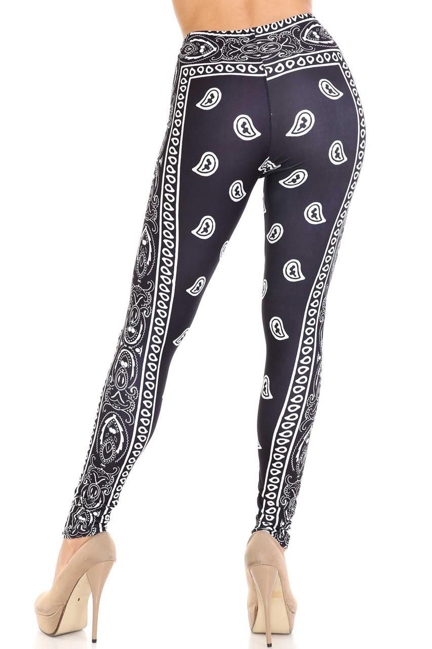 Rear view of Creamy Soft Black Bandana Plus Size Leggings - USA Fashion™  showing the body hugging fit.
