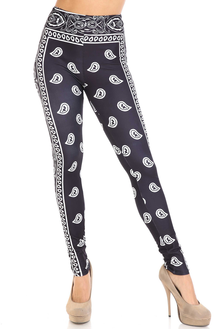 Front view of Creamy Soft Black Bandana Plus Size Leggings - USA Fashion™ with a mid rise elasticized waist.
