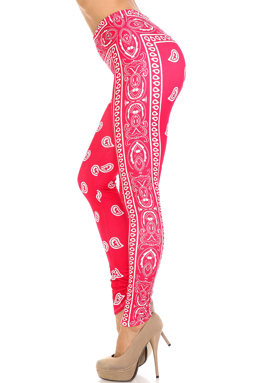Left side view of Creamy Soft Red Bandana Plus Size Leggings - USA Fashion™ showing a flattering vertical design that goes down the side.
