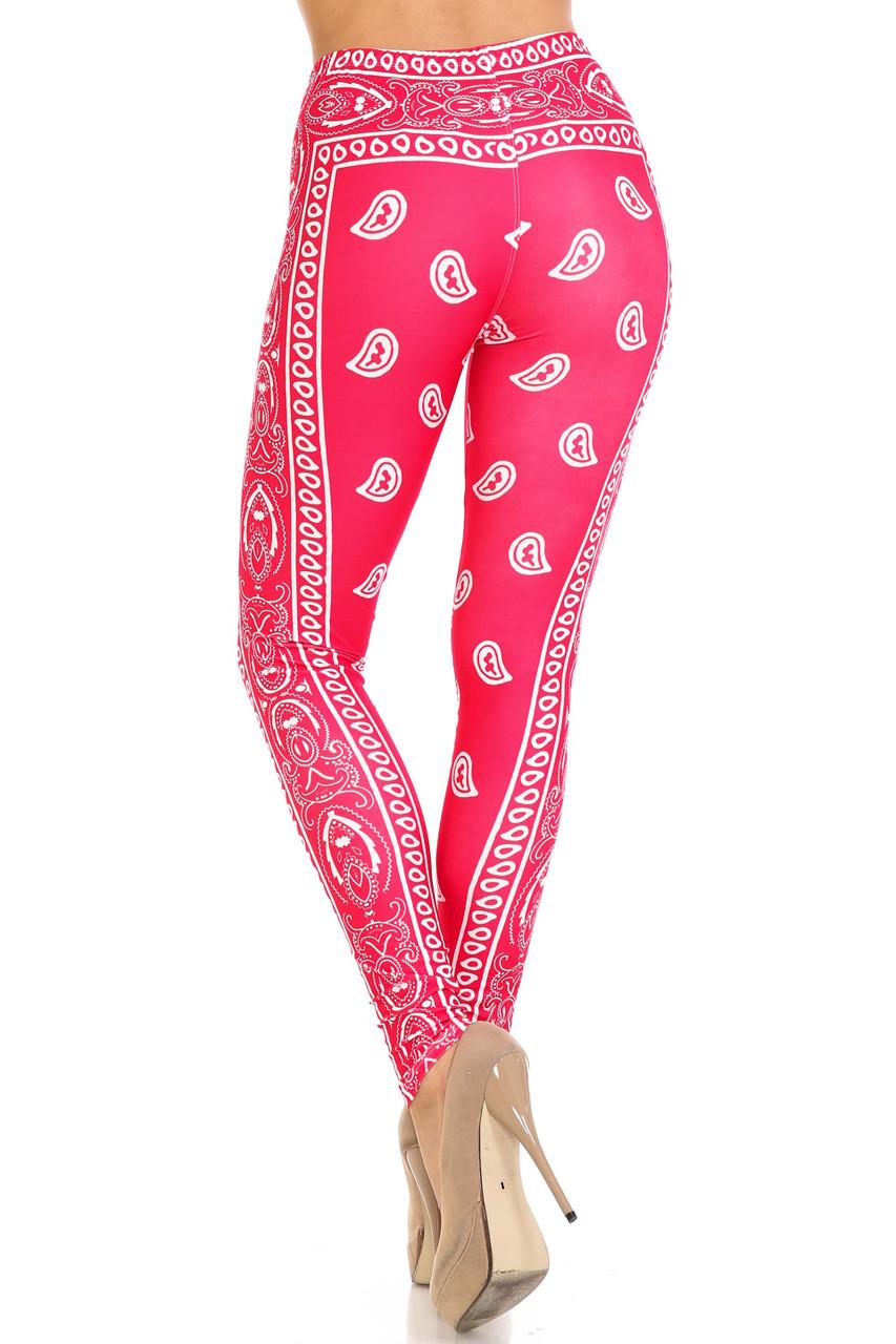 Rear view of Creamy Soft Red Bandana Plus Size Leggings - USA Fashion™