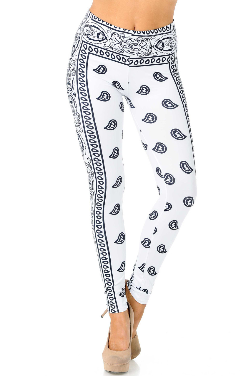 Front view of mid rise Creamy Soft White Bandana Plus Size Leggings - USA Fashion™ with an elastic waist.