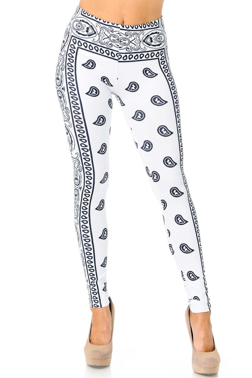 Front view of Creamy Soft White Bandana Extra Plus Size Leggings - 3X-5X - USA Fashion™