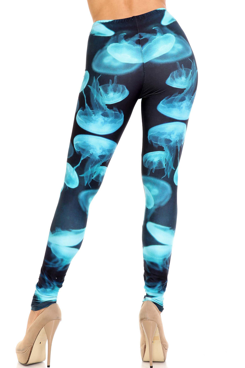 Rear view of Creamy Soft Electric Blue Jelly Fish Leggings - USA Fashion™ showing off a body hugging fit.