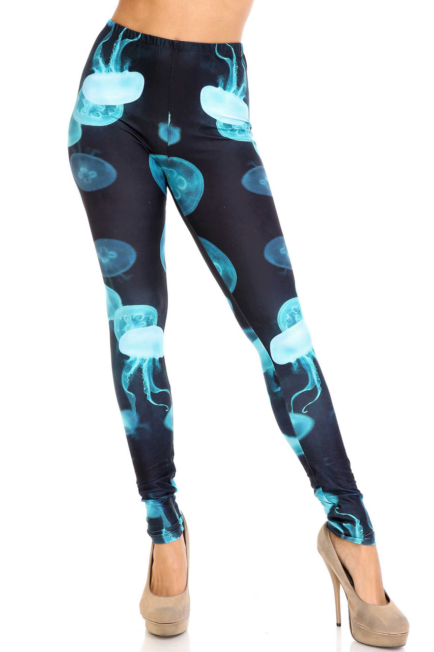 Front view of Creamy Soft Electric Blue Jelly Fish Plus Size Leggings - USA Fashion™ with a full length skinny leg cut.
