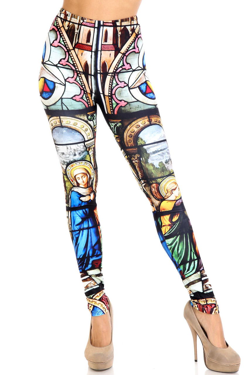 Front view of Creamy Soft Stained Glass Cathedral Leggings - USA Fashion™ with an elastic waist that comes up to about mid rise.