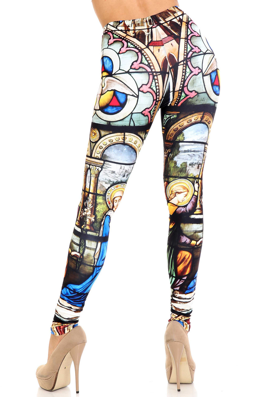 Rear view of Creamy Soft Stained Glass Cathedral Extra Plus Size Leggings - 3X-5X - USA Fashion™showing off a flattering fit.