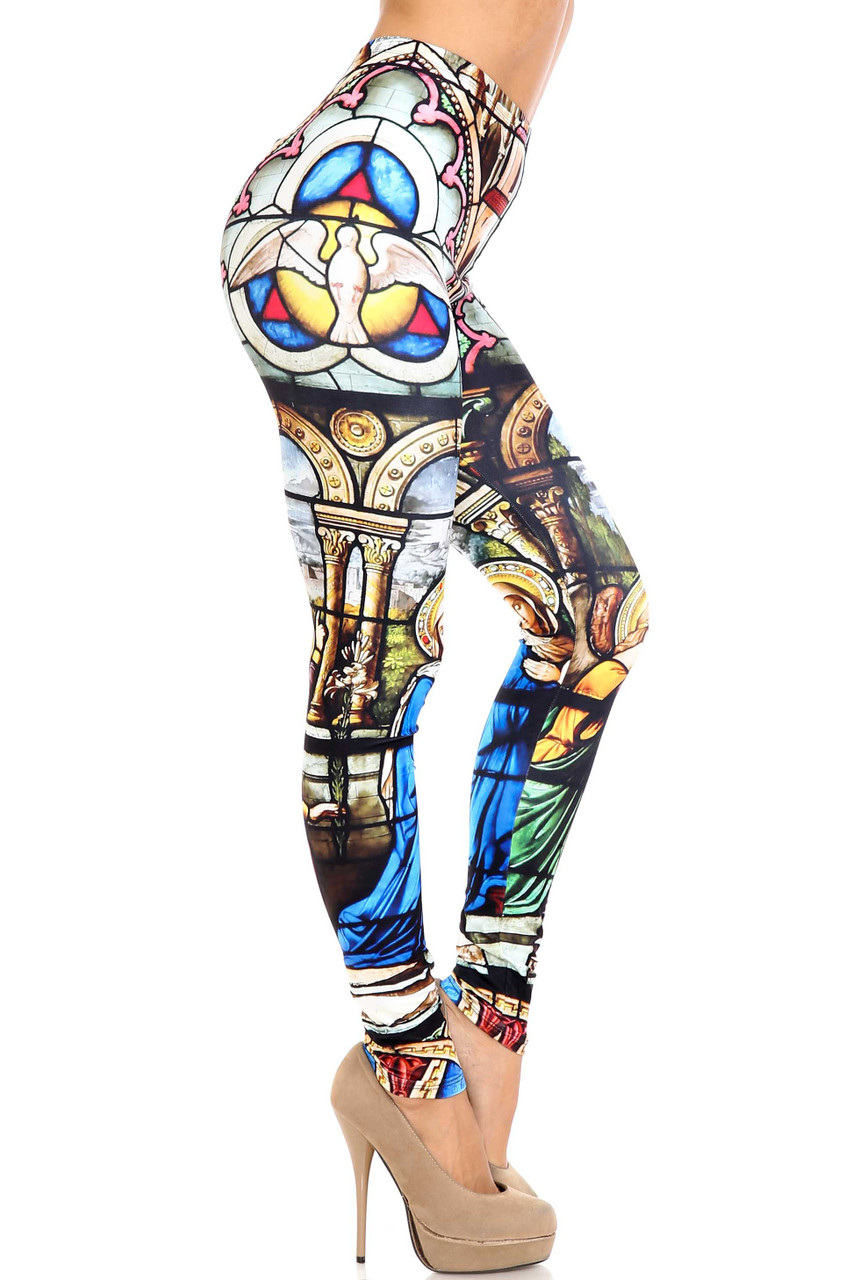 Right side of Creamy Soft Stained Glass Cathedral Extra Plus Size Leggings - 3X-5X - USA Fashion™