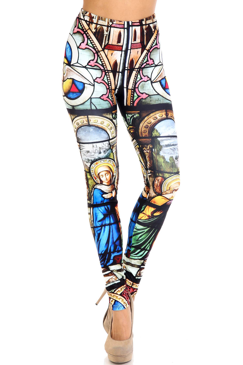 Front view of Creamy Soft Stained Glass Cathedral Extra Plus Size Leggings - 3X-5X - USA Fashion™