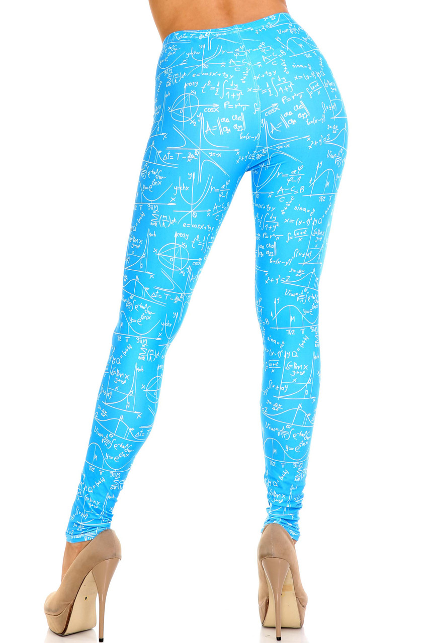 Rear view showcasing the figure flattering fit of our Creamy Soft Stained Blue Math Plus Size Leggings - USA Fashion™