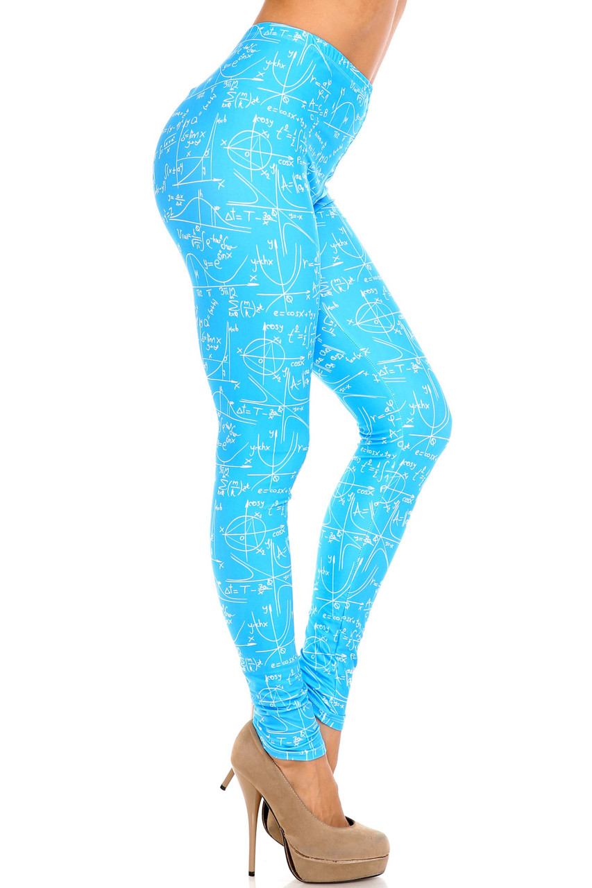 Right side view of Creamy Soft Stained Blue Math Plus Size Leggings - USA Fashion™