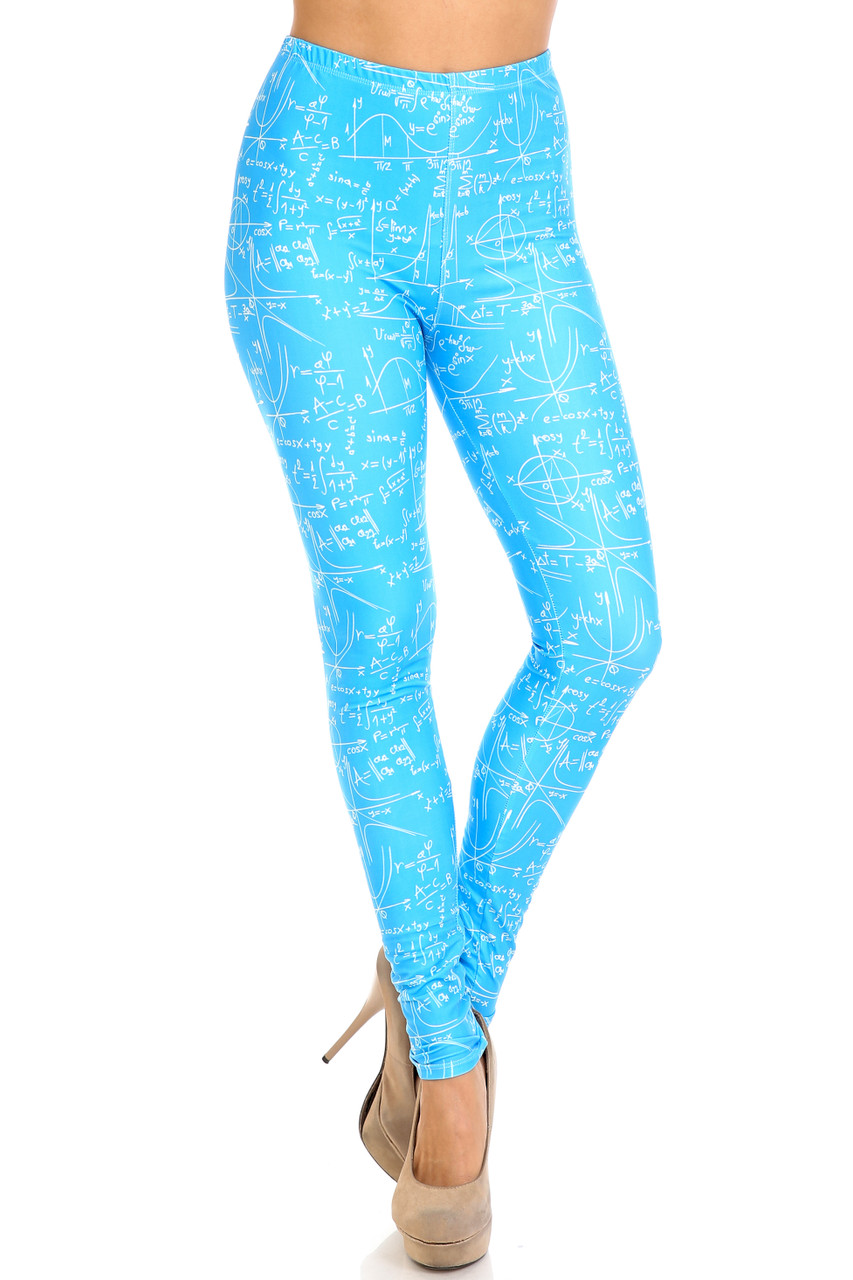 Front view of Creamy Soft Stained Blue Math Plus Size Leggings - USA Fashion™