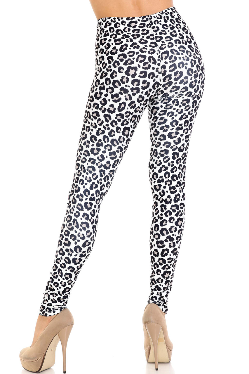 Rear view of Creamy Soft Urban Leopard Extra Plus Size Leggings - 3X-5X - USA Fashion™ showing off the figure flattering body hugging fit.