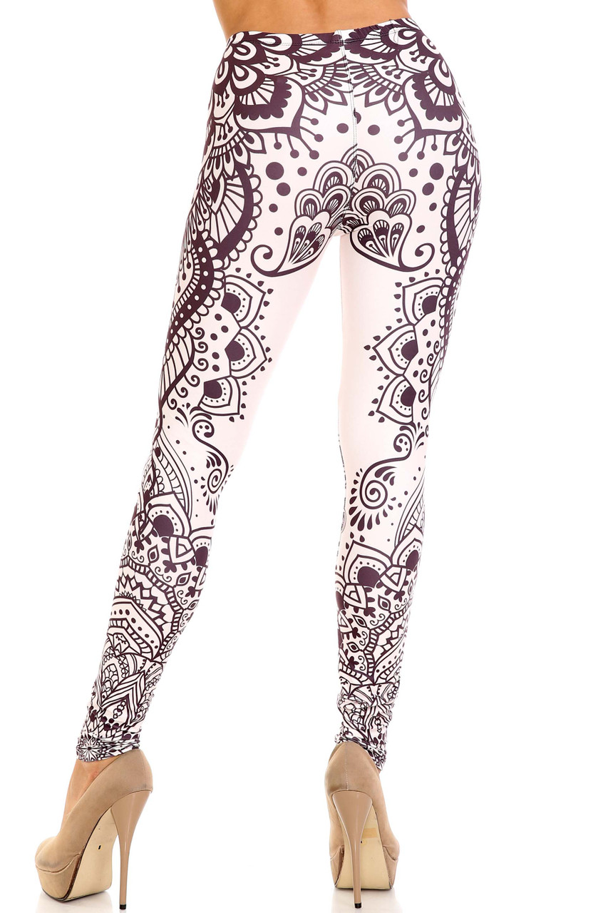 Rear view of Creamy Soft Creamy Tribal Mandala Plus Size Leggings - USA Fashion™ showing off the continued 360 degree design and flattering fit.