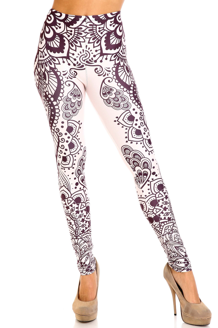 Front view of Creamy Soft Creamy Tribal Mandala Plus Size Leggings - USA Fashion™ with an elastic waist that comes up to about mid rise.