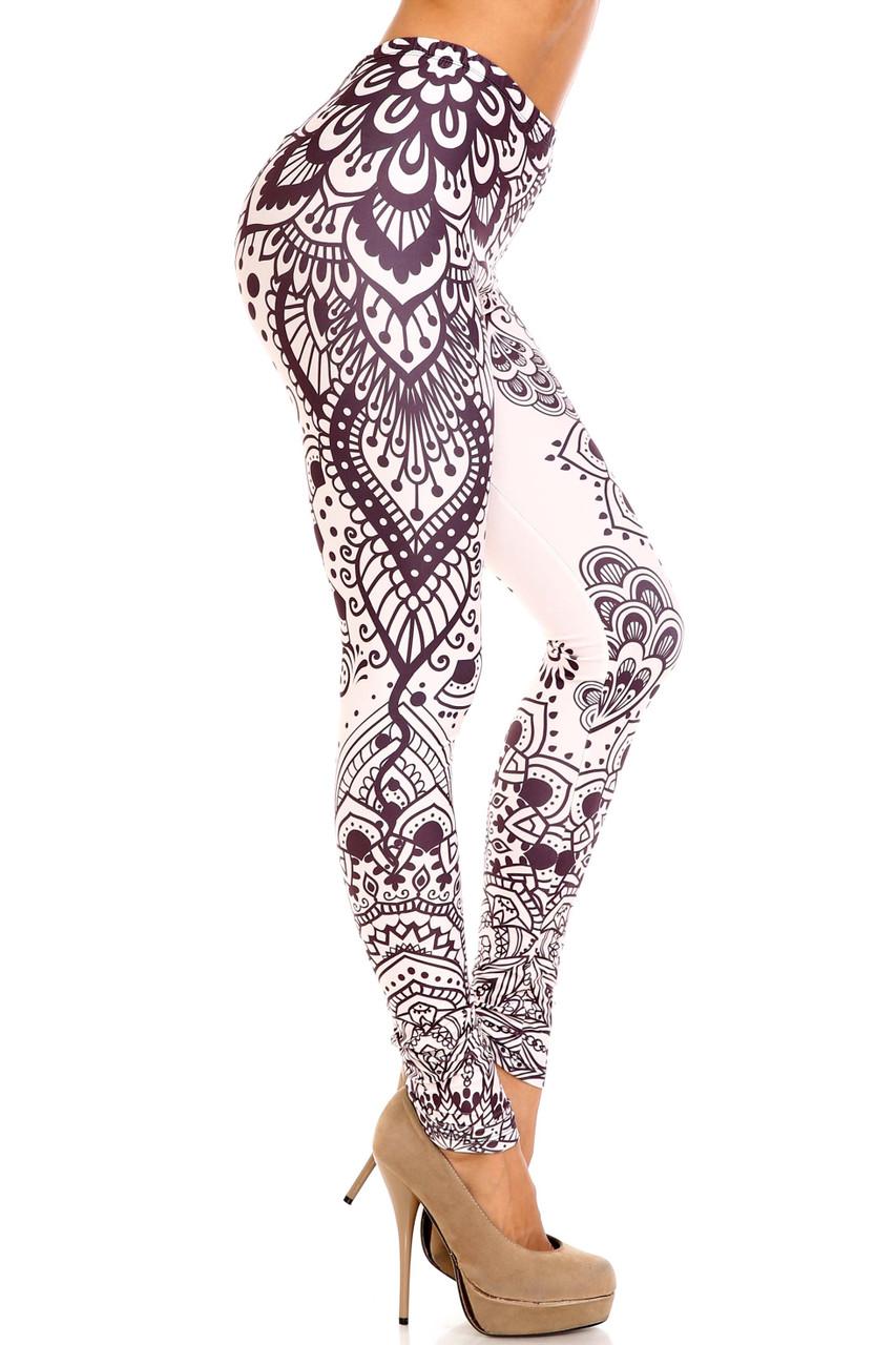 Right side view of Creamy Soft Creamy Tribal Mandala Plus Size Leggings - USA Fashion™