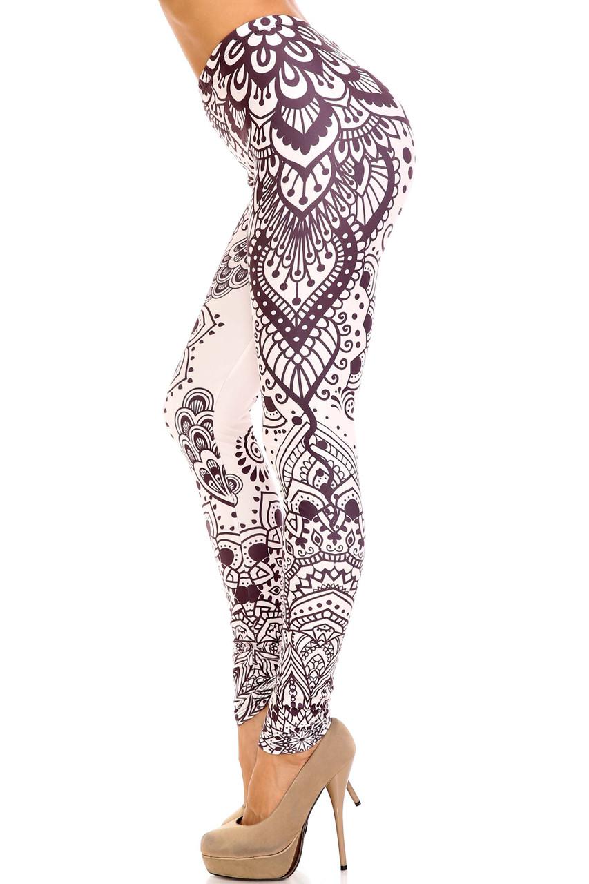 Left side view of Creamy Soft Creamy Tribal Mandala Plus Size Leggings - USA Fashion™