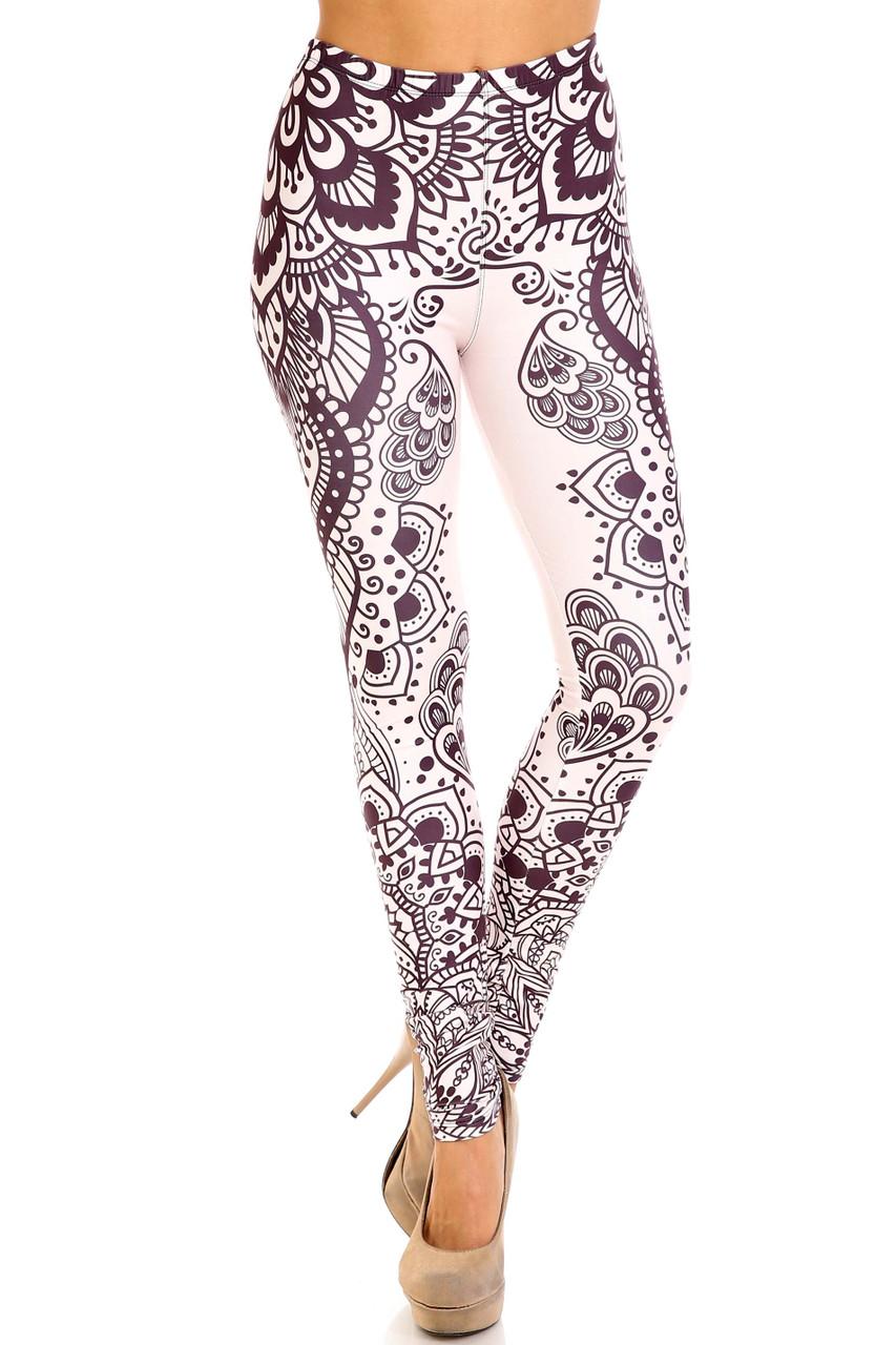 Front view of Creamy Soft Creamy Tribal Mandala Plus Size Leggings - USA Fashion™