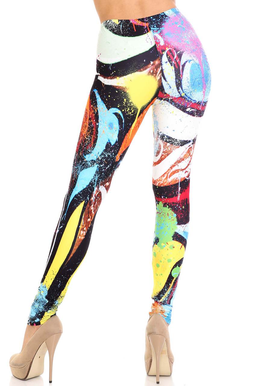Rear view of Creamy Soft Colorful Paint Strokes Plus Size Leggings - USA Fashion™ with an eye-catching colorful artsy look and a flattering fit.
