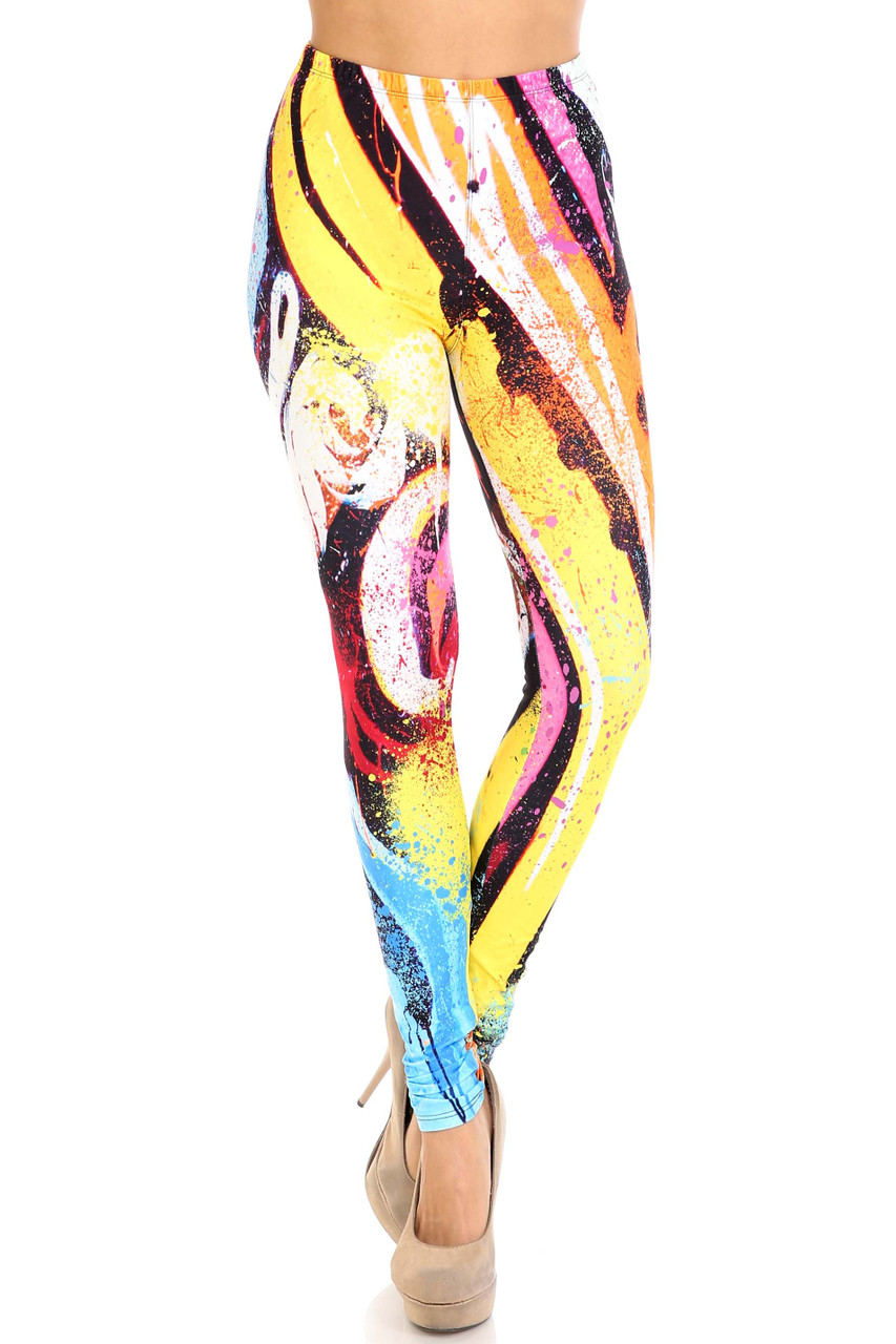 Front view of Creamy Soft Colorful Paint Strokes Plus Size Leggings - USA Fashion™