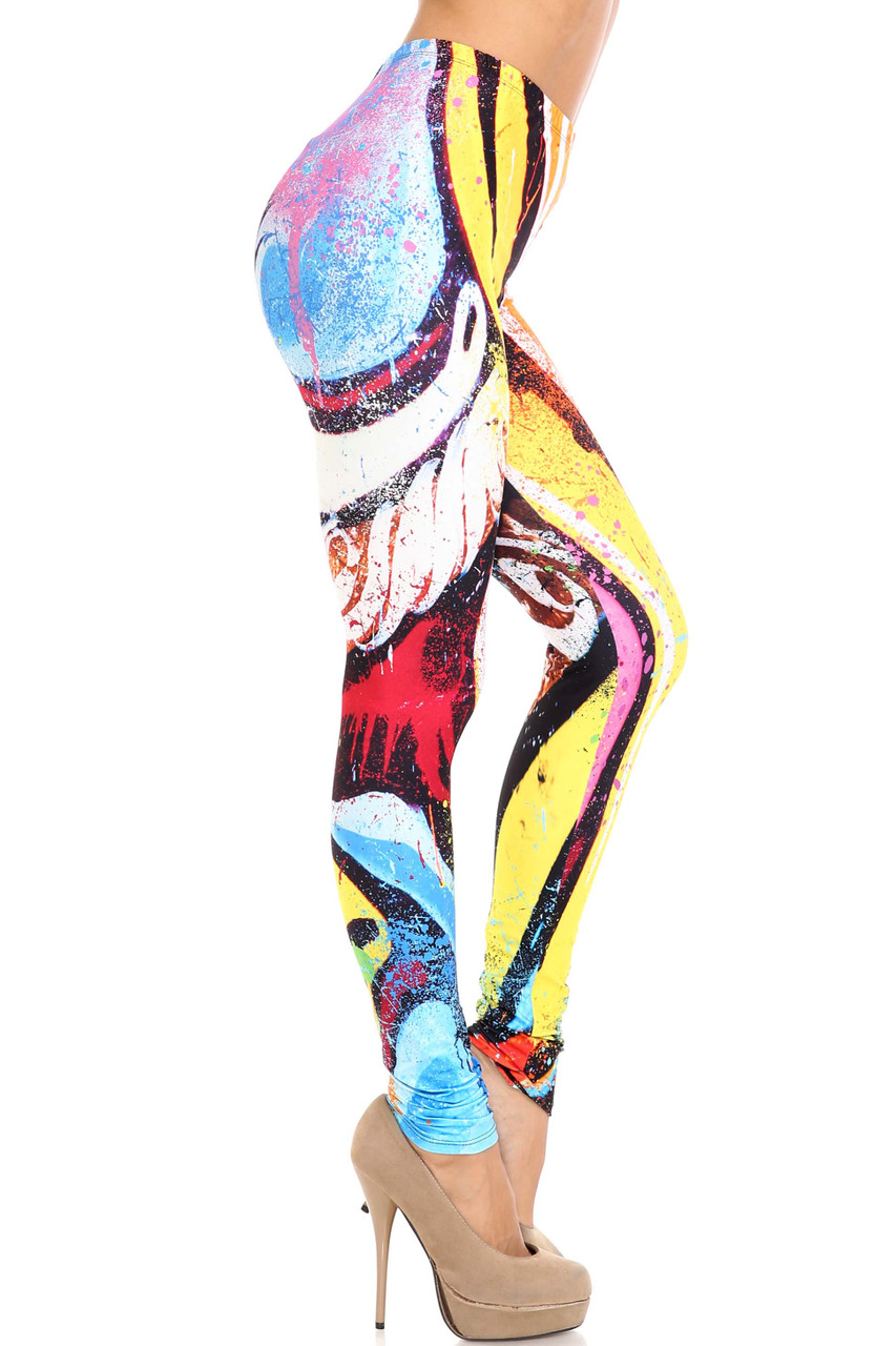 Right side view of Creamy Soft Colorful Paint Strokes Extra Plus Size Leggings - 3X-5X - USA Fashion™