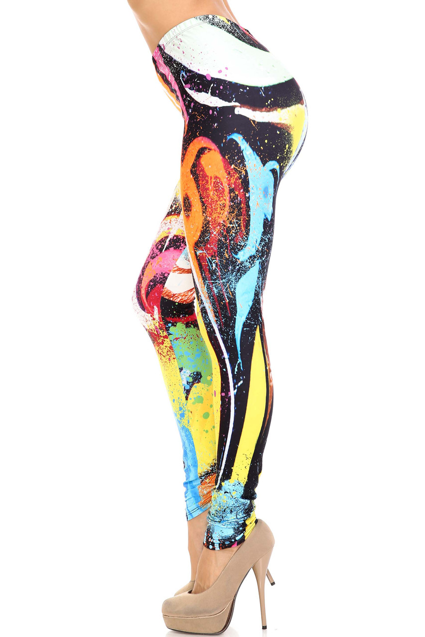 Left side view of Creamy Soft Colorful Paint Strokes Extra Plus Size Leggings - 3X-5X - USA Fashion™