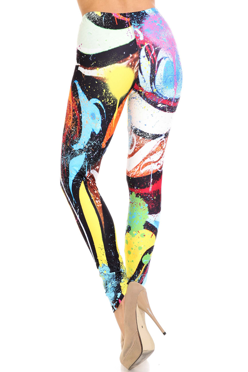 Rear view of Creamy Soft Colorful Paint Strokes Extra Plus Size Leggings - 3X-5X - USA Fashion™