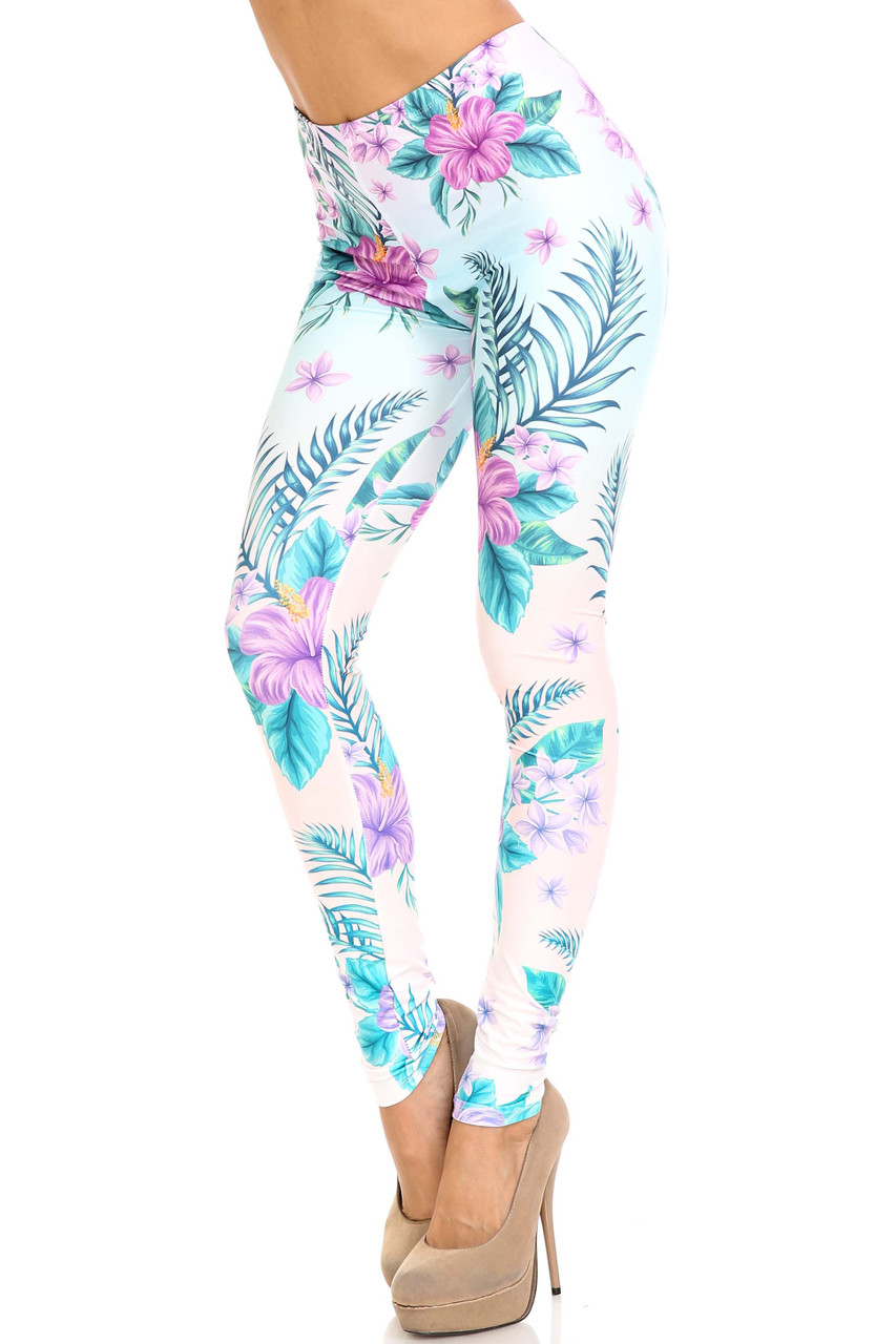 45 degree view of Creamy Soft Lavender Lilies Extra Plus Size Leggings - 3X-5X - USA Fashion™ with a gorgeous pink blue and green on white color scheme.