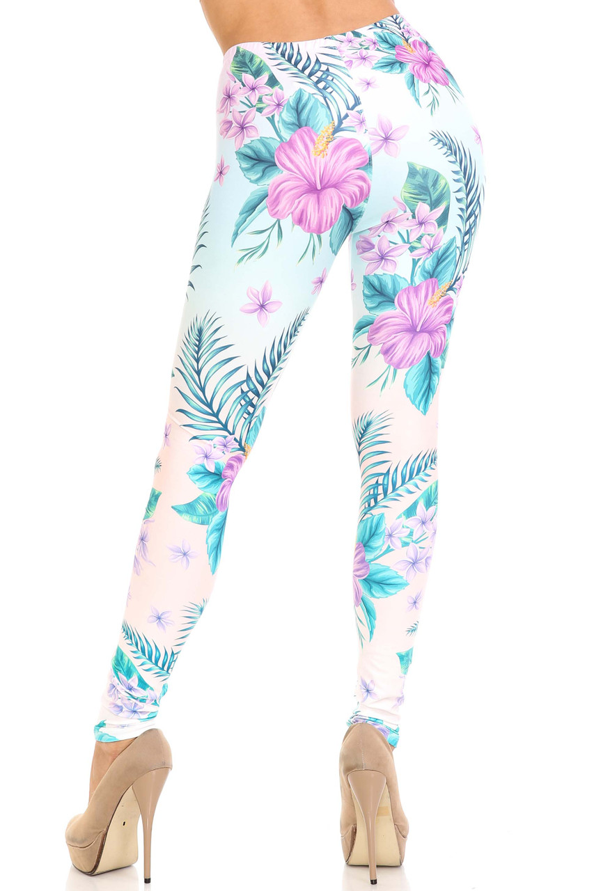 Rear view of figure flattering body hugging Creamy Soft Lavender Lilies Extra Plus Size Leggings - 3X-5X - USA Fashion™