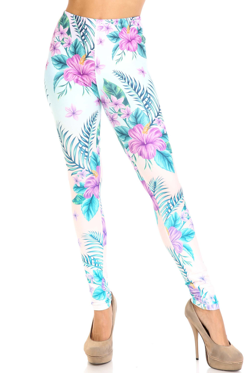 Front view of Creamy Soft Lavender Lilies Extra Plus Size Leggings - 3X-5X - USA Fashion™ with an elastic waist that comes up to about mid rise.