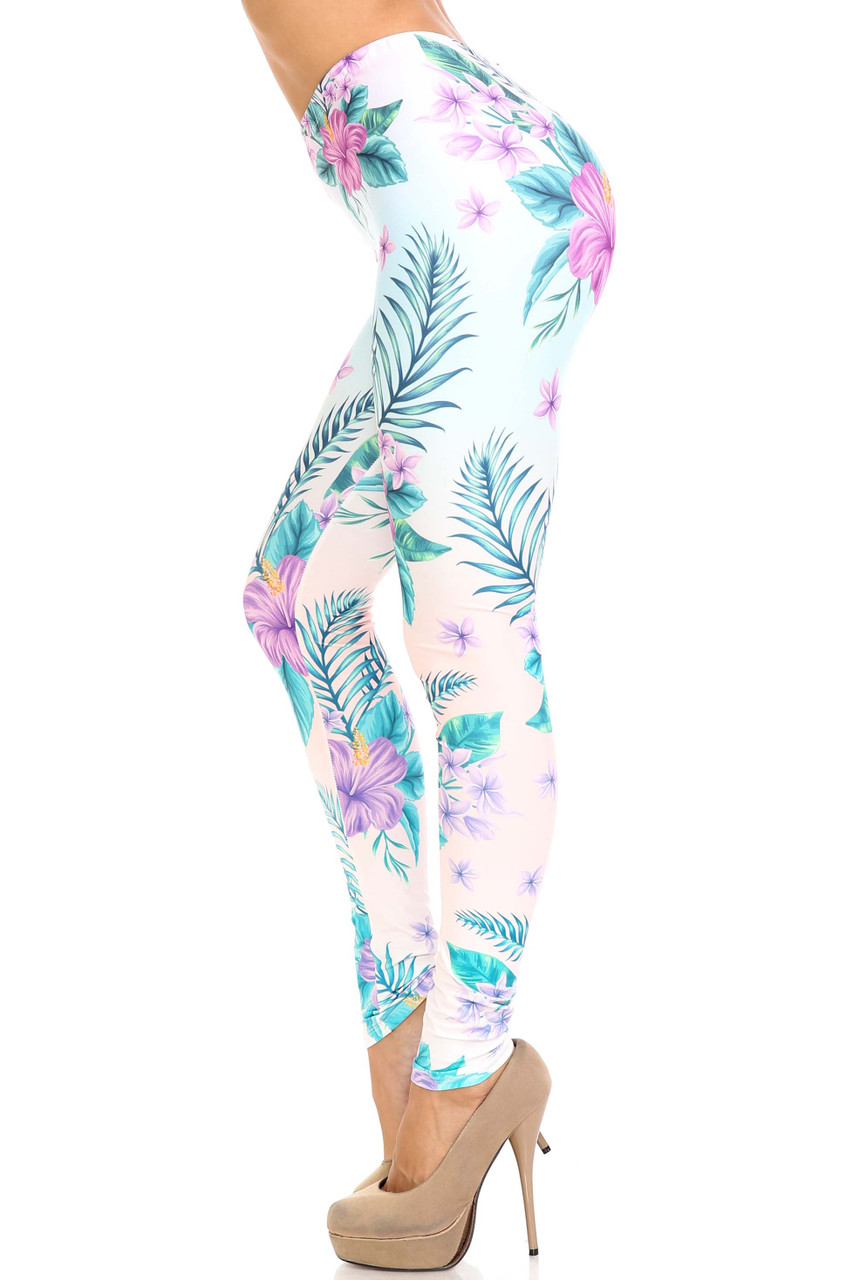 Left side view of Creamy Soft Lavender Lilies Extra Plus Size Leggings - 3X-5X - USA Fashion™