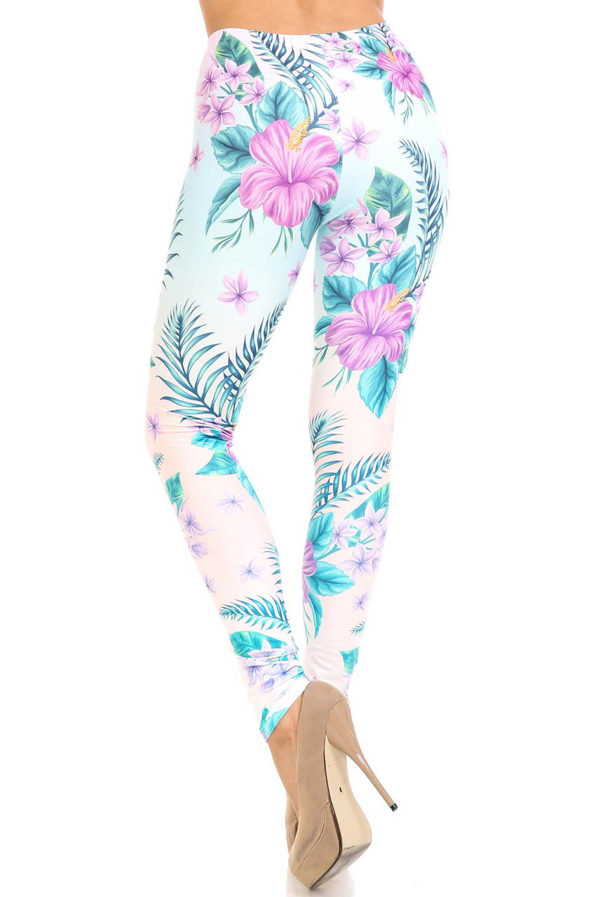 Rear view of Creamy Soft Lavender Lilies Extra Plus Size Leggings - 3X-5X - USA Fashion™