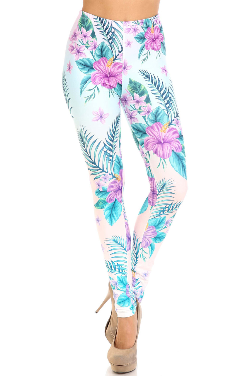 Front view of Creamy Soft Lavender Lilies Extra Plus Size Leggings - 3X-5X - USA Fashion™