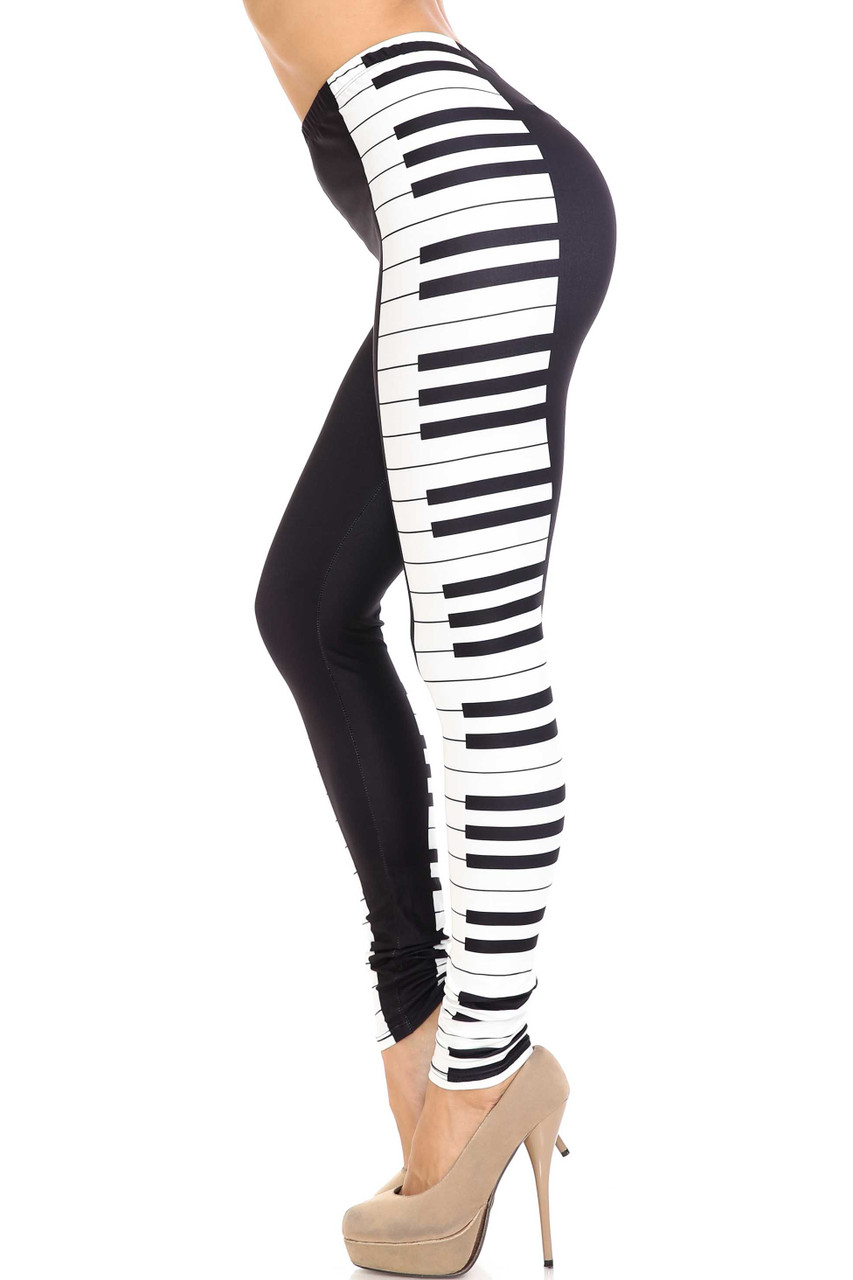 Left side view of Creamy Soft Keys of the Piano Plus Size Leggings - USA Fashion™