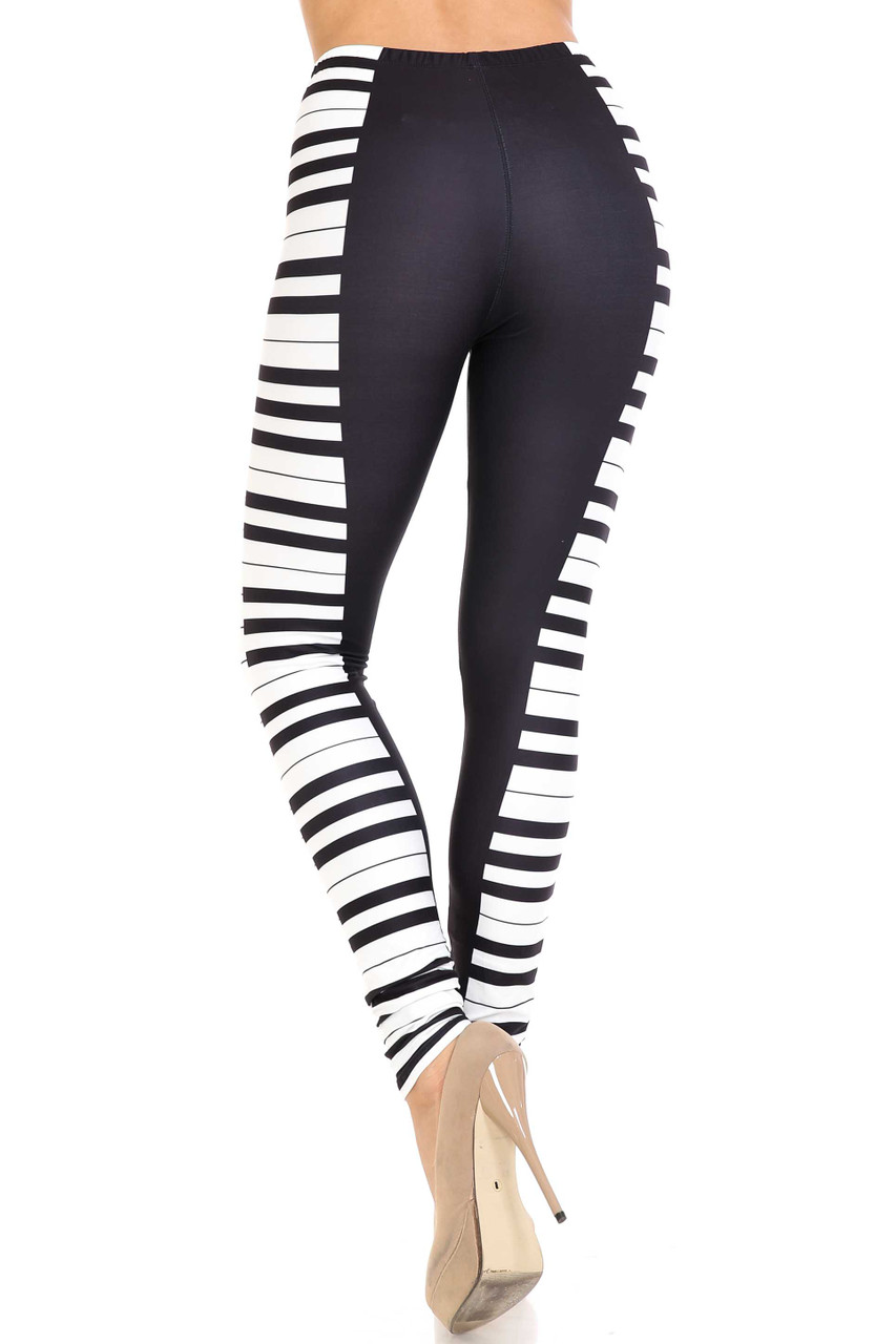 Back view of Creamy Soft Keys of the Piano Plus Size Leggings - USA Fashion™