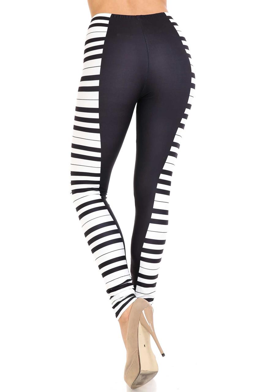 Back view of Creamy Soft Keys of the Piano Extra Plus Size Leggings - 3X-5X - USA Fashion™