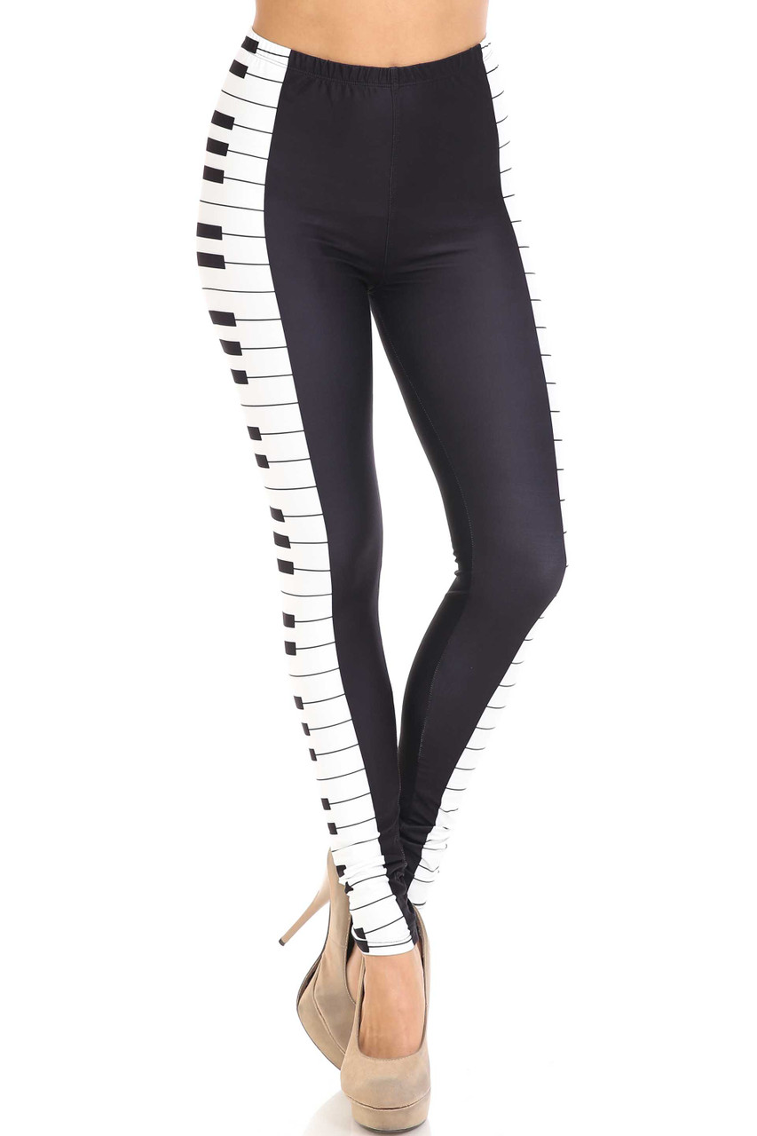 Front view of mid rise Creamy Soft Keys of the Piano Extra Plus Size Leggings - 3X-5X - USA Fashion™ with an elastic banded waist.