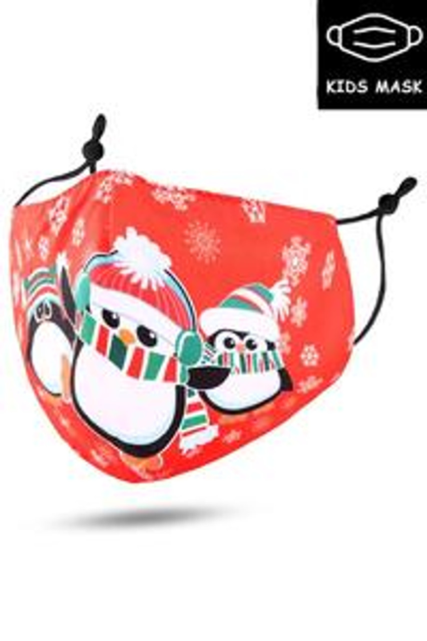 Stand alone image of Red Christmas Penguins Kids Face Mask
