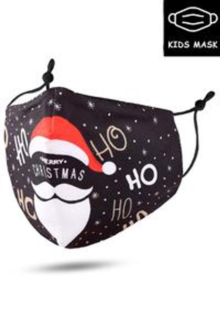 Stand alone view of Ho Ho Santa Beard and Hat Kids Christmas Face Mask