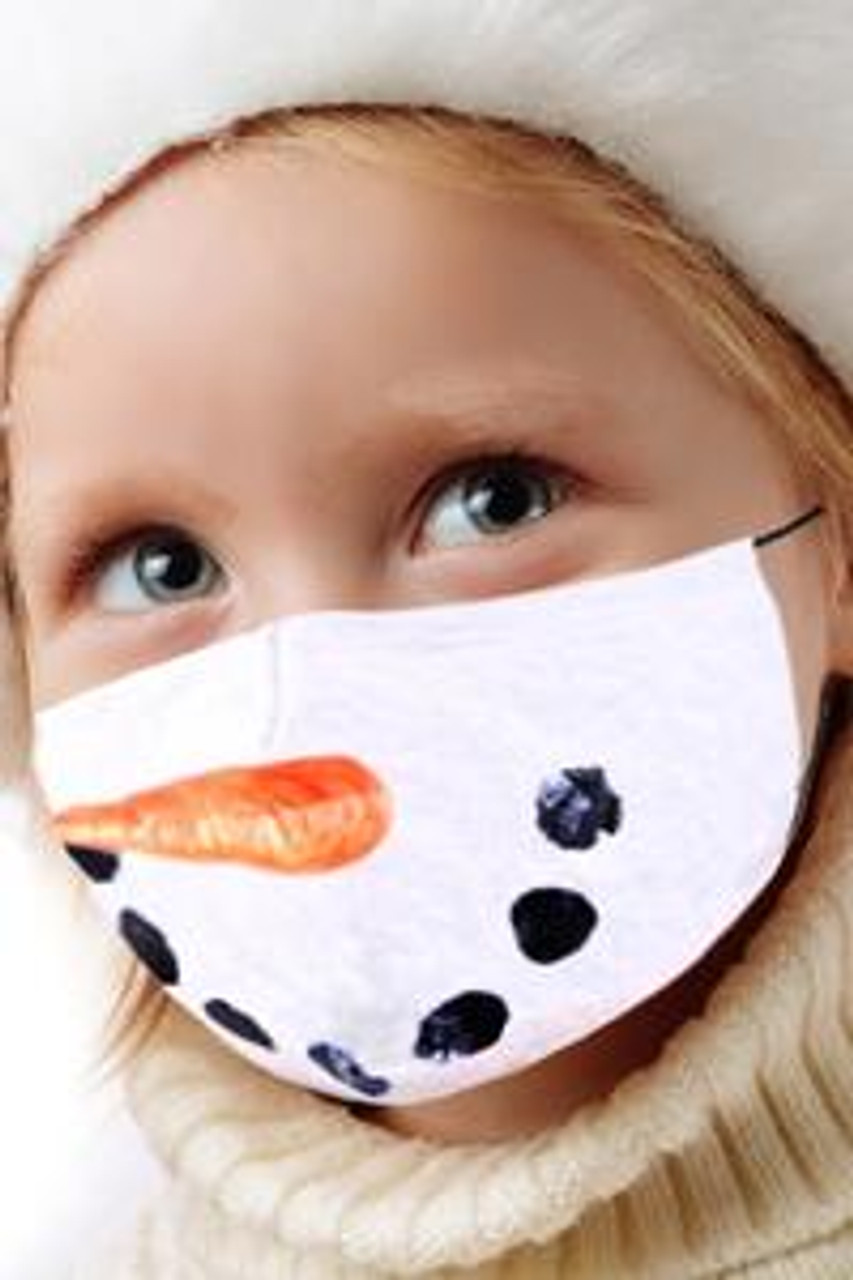 45 degree view of Snowman's Face Kids Christmas Face Mask with a cute snowman coal mouth and carrot nose design.