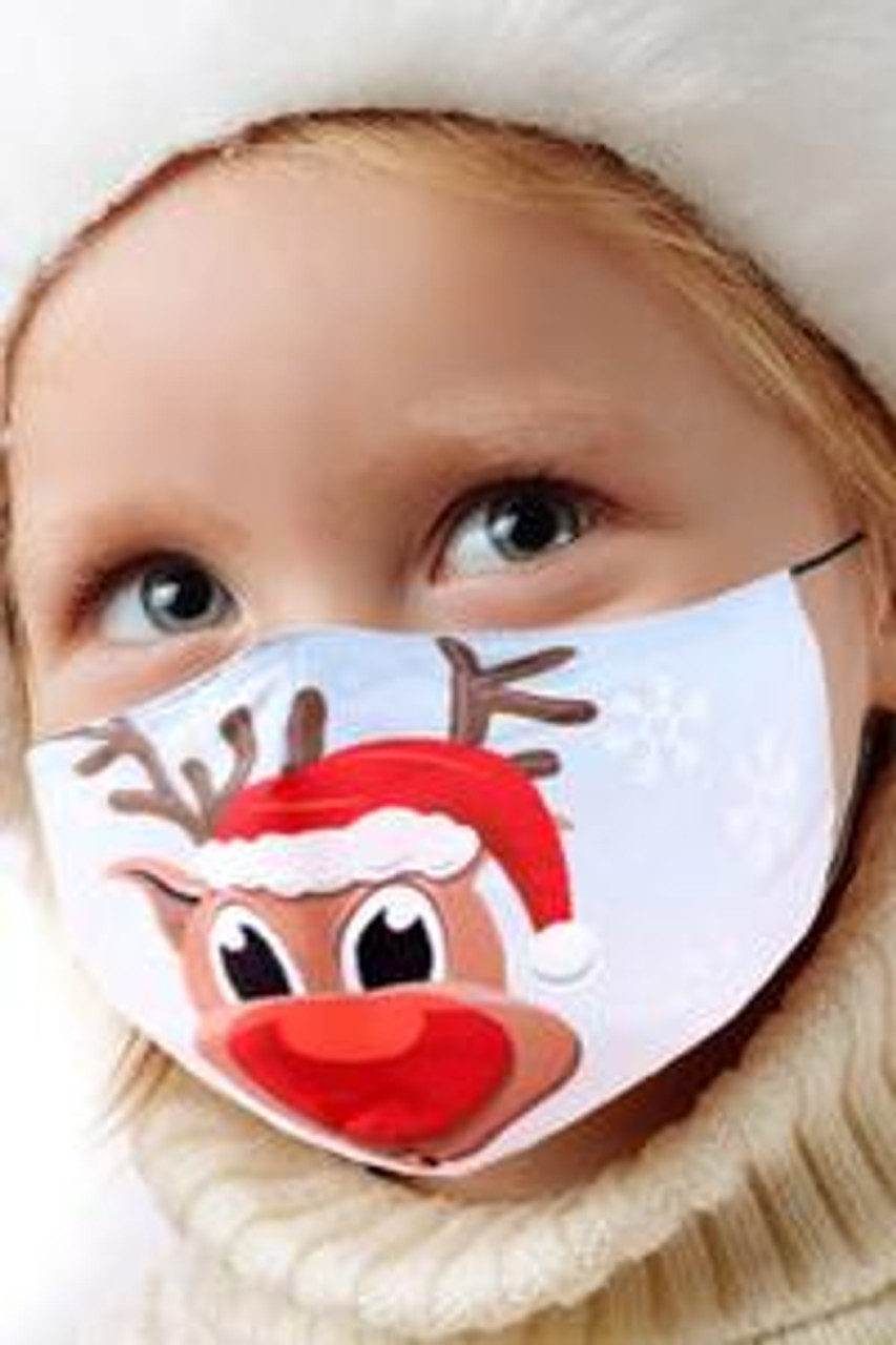 45 degree view of Cutie Pie Reindeer Kids Christmas Face Mask with an adorable cartoon Rudolph design.