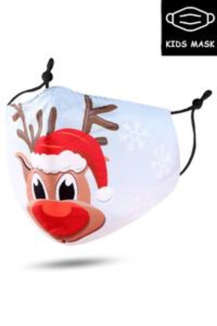 Stand alone image of Cutie Pie Reindeer Kids Christmas Face Mask