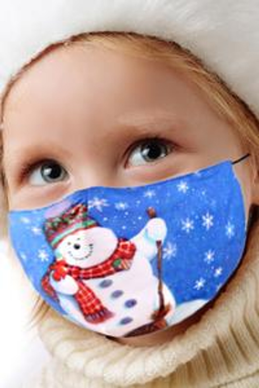 45 degree view of Frosty the Snowman Kids Christmas Face Mask showing a colorful festive holiday themed cartoon design.