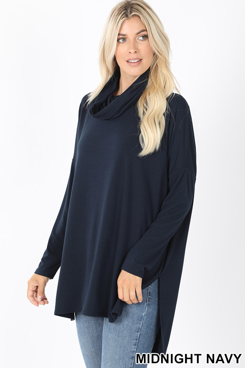 45 Degree Front image of Midnight Navy Cowl Neck Hi-Low Long Sleeve Top