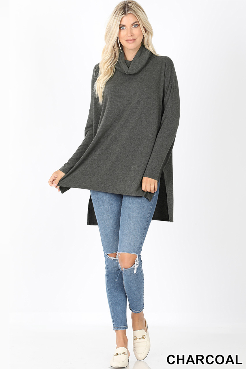 Full body front image of Charcoal Cowl Neck Hi-Low Long Sleeve Top