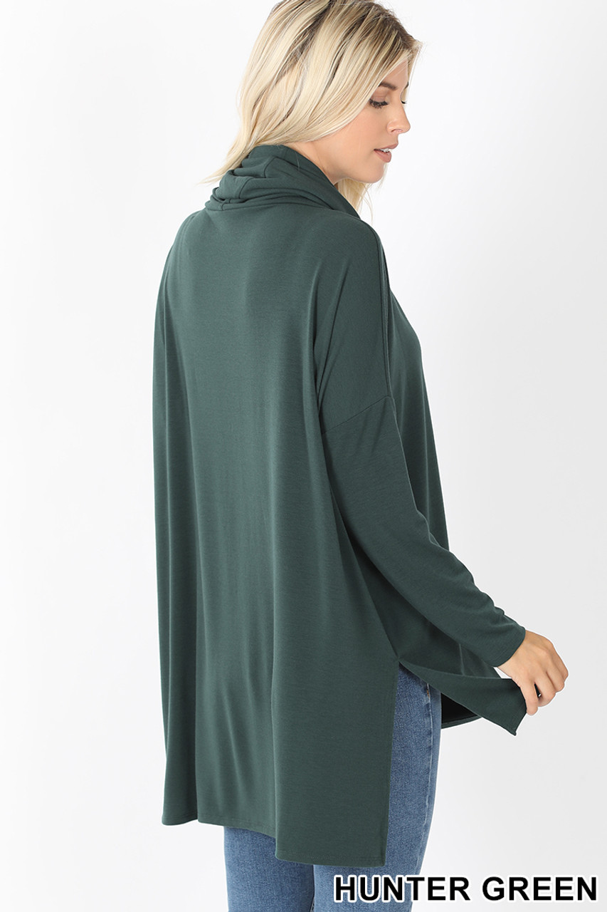 45 Degree Rear Facing Image of Hunter Cowl Neck Hi-Low Long Sleeve Plus Size Top